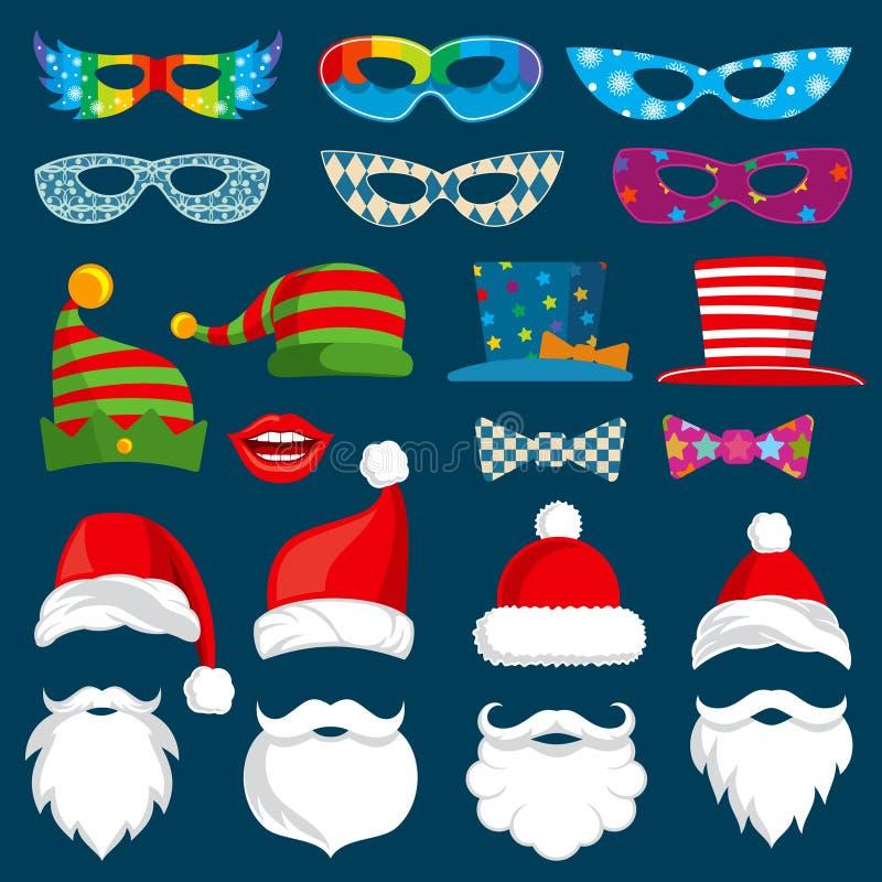 Det lyckliga nya året och jul semestrar den pappers- isolerade vektoruppsättningen för photobooth stöttor stock illustrationer