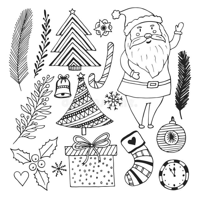Det lyckliga nya året skissar klotteruppsättningen Sida för julfärgläggningbok royaltyfri illustrationer