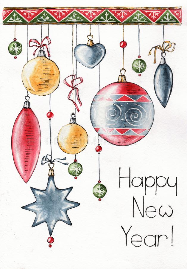 Det lyckliga nya året som dekorerar vattenfärgen, skissar royaltyfri illustrationer