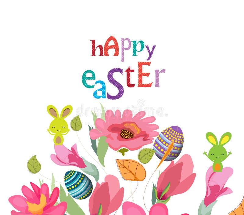 Det lyckliga påskkortet med en bokstäver- och tecknad filmkanin, ägg, blommar royaltyfri illustrationer