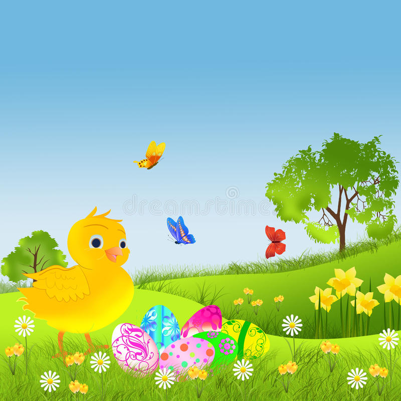 Det lyckliga påskkortet med höna målade ägget på grönt gräs vektor illustrationer