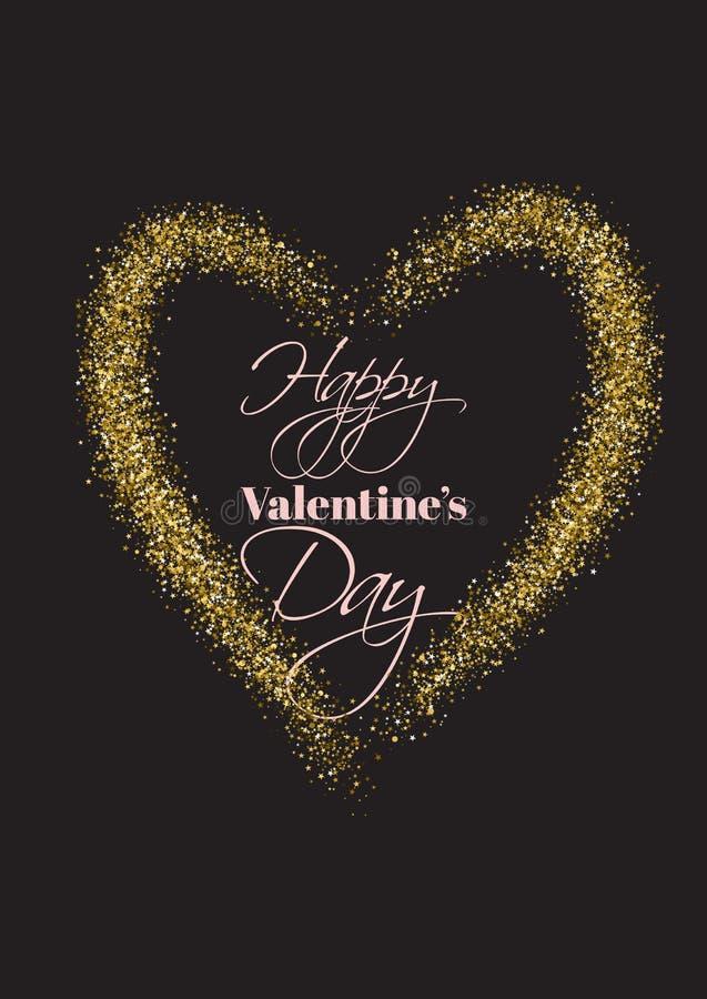 Det lyckliga valentins dagkortet med guld blänker texturerad hjärta royaltyfri illustrationer