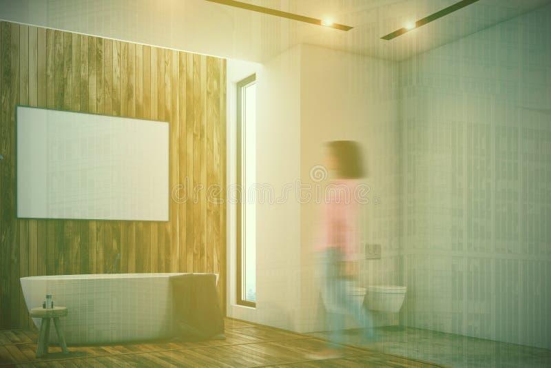 Det lyxiga badrummet, affisch, badar och den tonade toalettsidan stock illustrationer