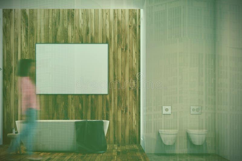 Det lyxiga badrummet, affisch, badar och toaletten vektor illustrationer
