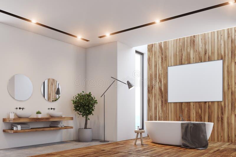Det lyxiga badrummet, affisch, badar och toaletthörn stock illustrationer
