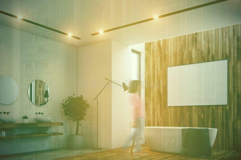 Det lyxiga badrummet, affisch, badar, toaletten, det tonade hörnet royaltyfri illustrationer