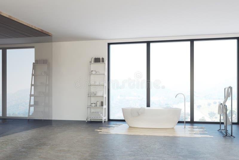 Det lyxiga badrummet, vit badar royaltyfri illustrationer
