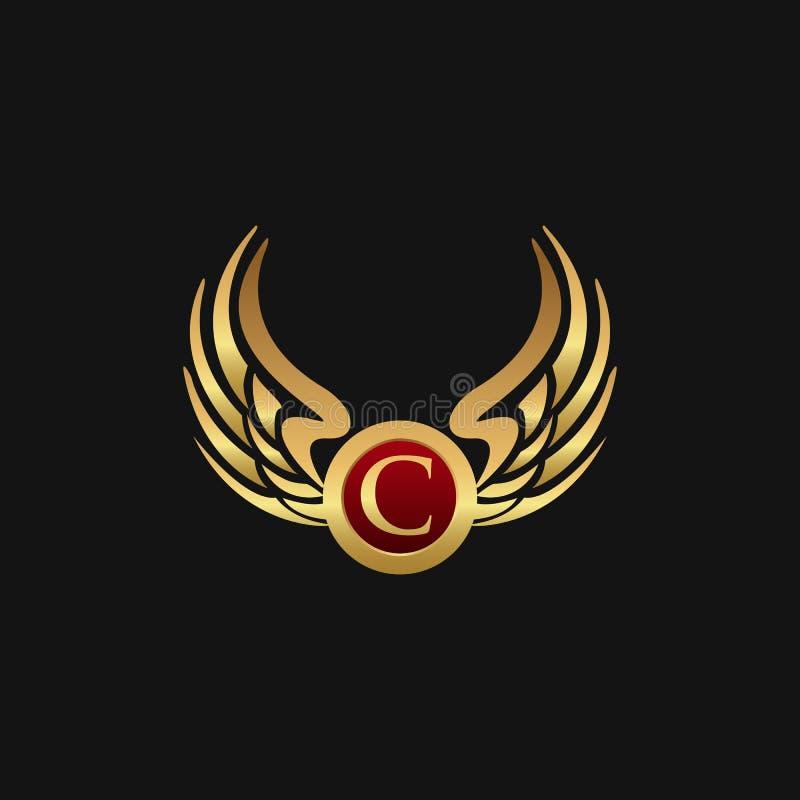 Det lyxiga emblemet för bokstav C påskyndar mallen för logodesignbegreppet stock illustrationer