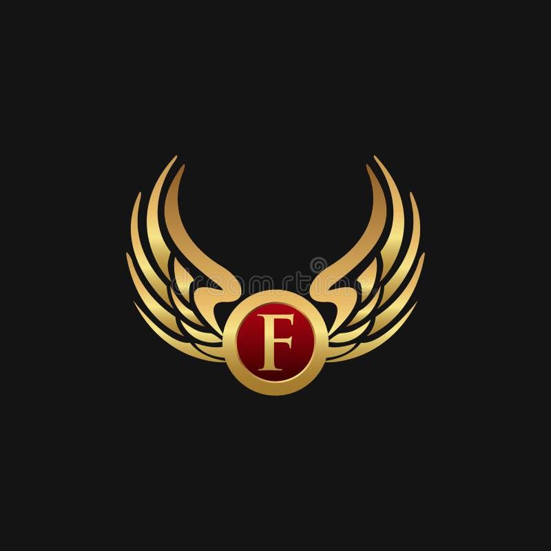 Det lyxiga emblemet för bokstav F påskyndar mallen för logodesignbegreppet vektor illustrationer