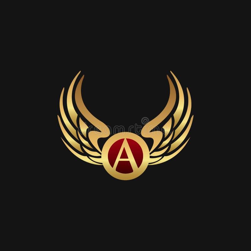Det lyxiga emblemet för bokstav A påskyndar mallen för logodesignbegreppet stock illustrationer