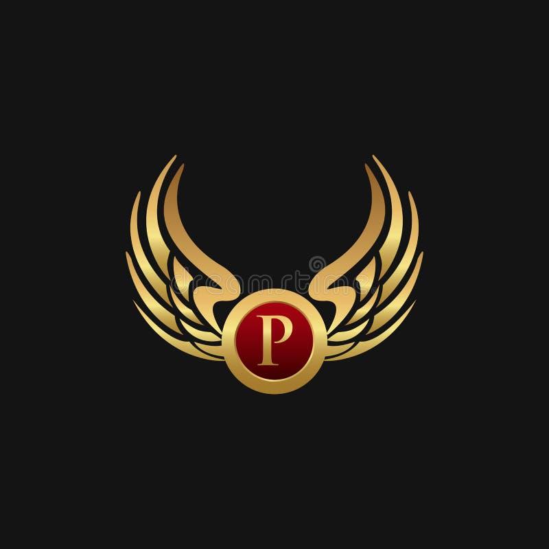 Det lyxiga emblemet för bokstav P påskyndar mallen för logodesignbegreppet vektor illustrationer