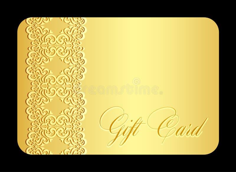 Det lyxiga guld- gåvakortet med efterföljd av snör åt royaltyfri illustrationer