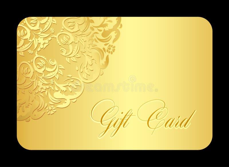 Det lyxiga guld- gåvakortet med rundat snör åt stock illustrationer