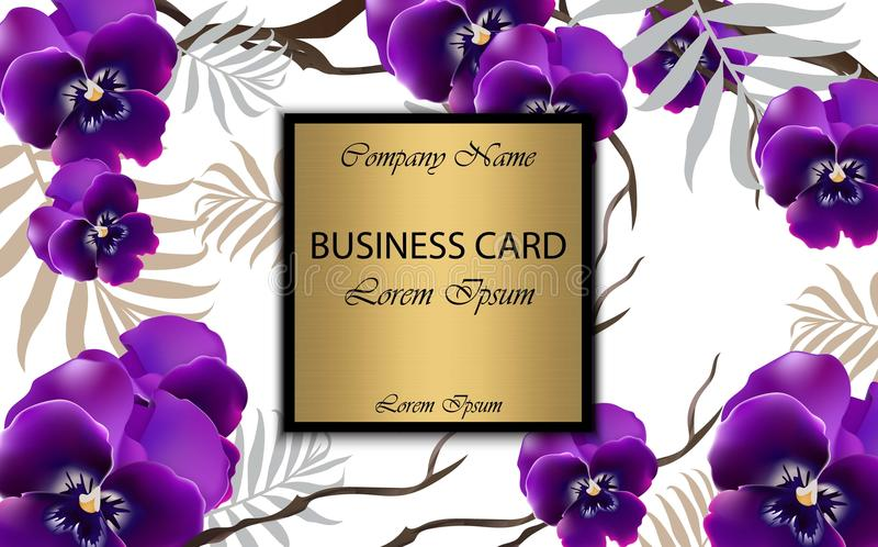 Det lyxiga kortet med orkidén blommar vektorn Härlig illustration för märkesbok, affärskort eller affisch Vit bakgrund royaltyfri illustrationer