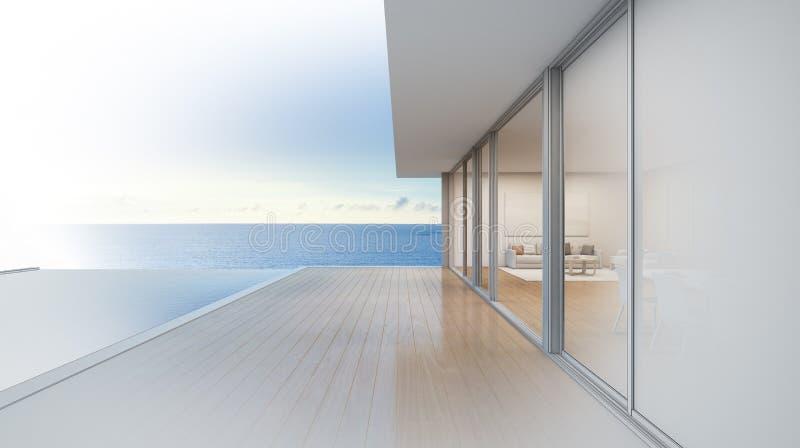 Det lyxiga strandhuset med havssiktssimbassängen, skissar design av det moderna semesterhemmet royaltyfri bild