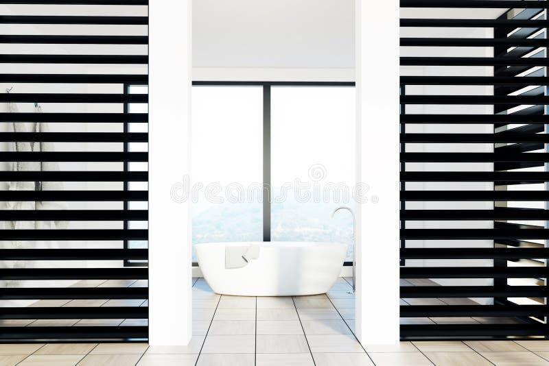 Det lyxiga vit- och svartbadrummet, vit badar royaltyfri illustrationer