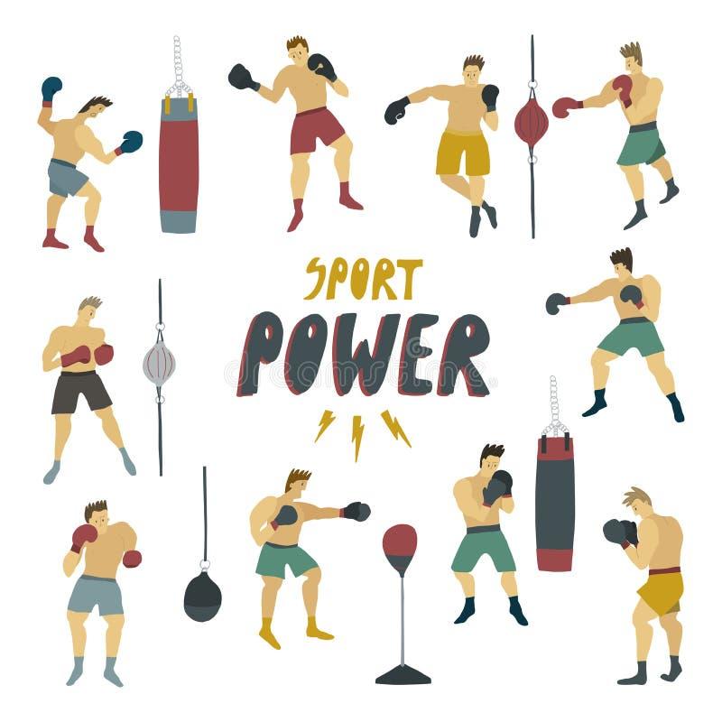 Det mänskliga diagramet i ställning för stark man för rörelse i olikt poserar med boxas handskar och klämmandepåsen stock illustrationer