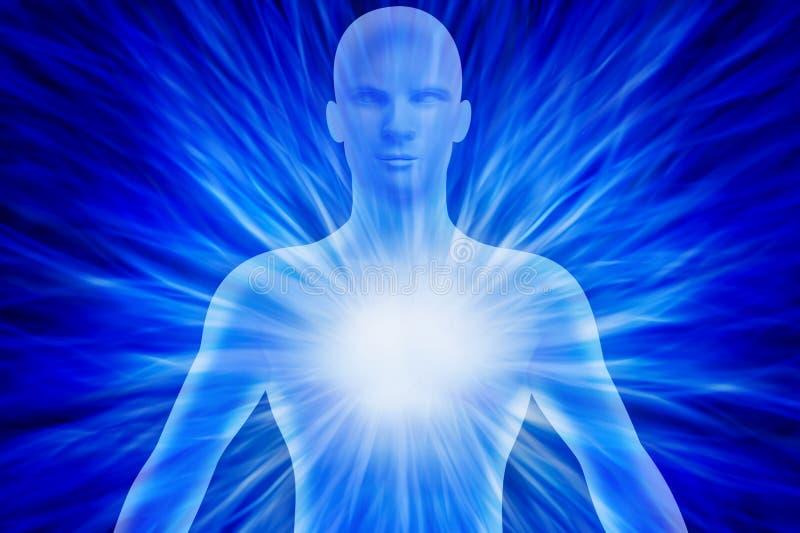 Det mänskliga diagramet med energi rays runt om hans kropp stock illustrationer