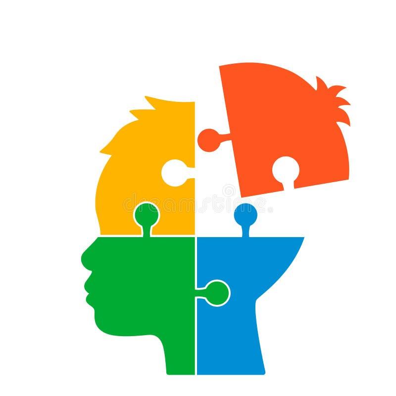 Det mänskliga huvudet består av pussel begrepp av intellekt, mental malm eller mentala hälsor Plan isolerad vektorillustration stock illustrationer