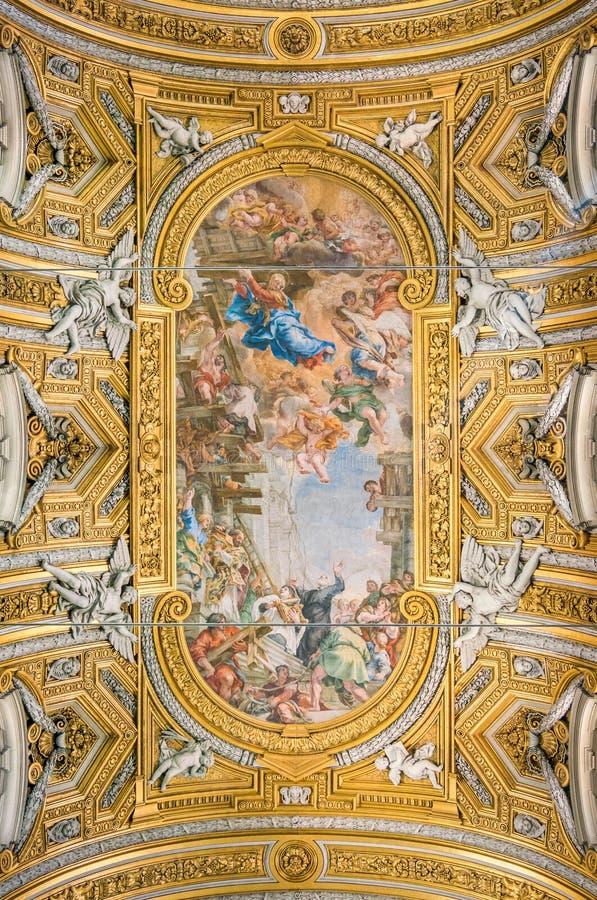 Det målade valvet av Pietro da Cortona, i kyrkan av Santa Maria i Vallicella eller Chiesa Nuova, i Rome, Italien fotografering för bildbyråer