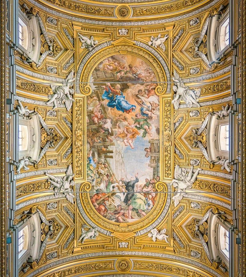 Det målade valvet av Pietro da Cortona, i kyrkan av Santa Maria i Vallicella eller Chiesa Nuova, i Rome, Italien arkivfoto