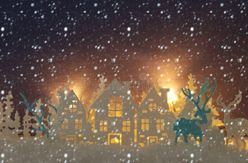 Det magiska landskapet för bakgrund för vintern för julpapperssnittet med hus, träd, hjortar och den insnöade framdelen av guld t stock illustrationer