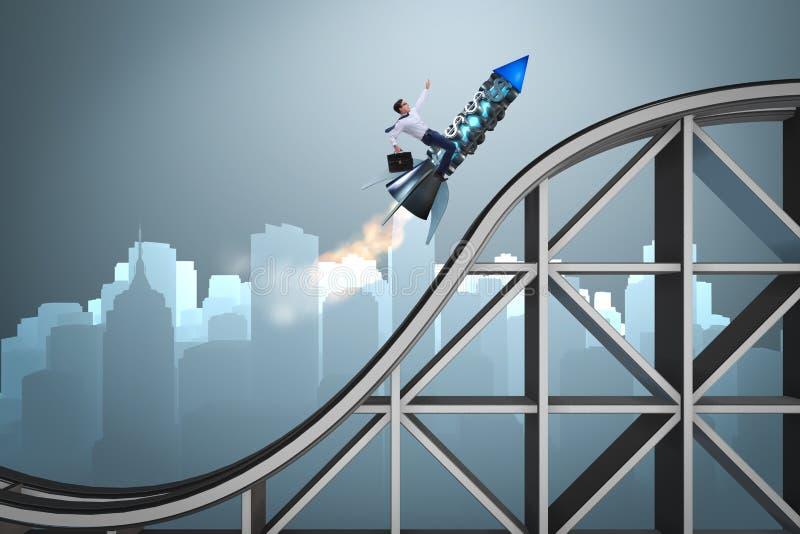 Det manliga affärsmanflyget på raket i affärsidé vektor illustrationer