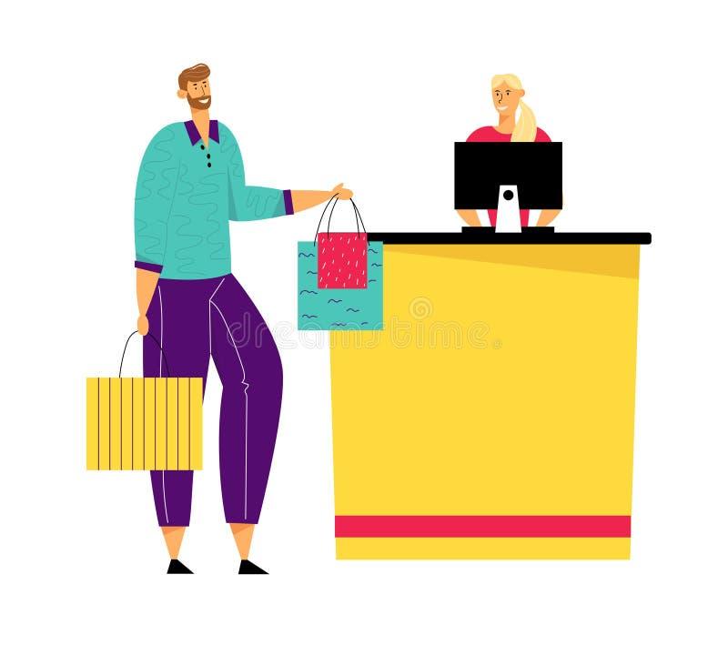 Det manliga kundteckenet med gods i pappers- shoppa påsar står i supermarket- eller boutiquekö på kassörskan stock illustrationer