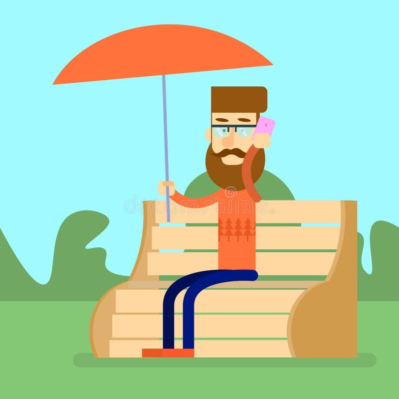 Det manSit On Bench Park Hold paraplyet talar på den cellSmart telefonen vektor illustrationer