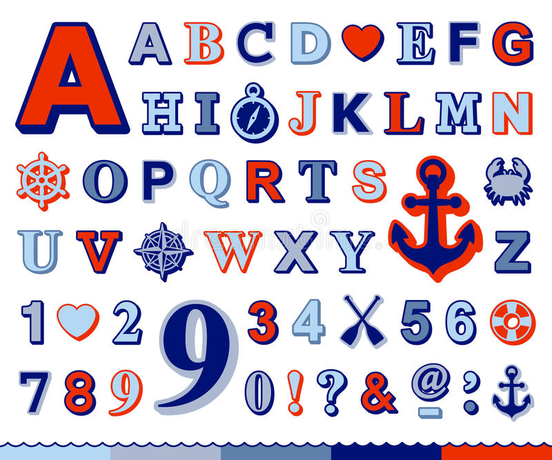 Det marin- alfabetet och numret ställde in med nautiska symboler vektor illustrationer