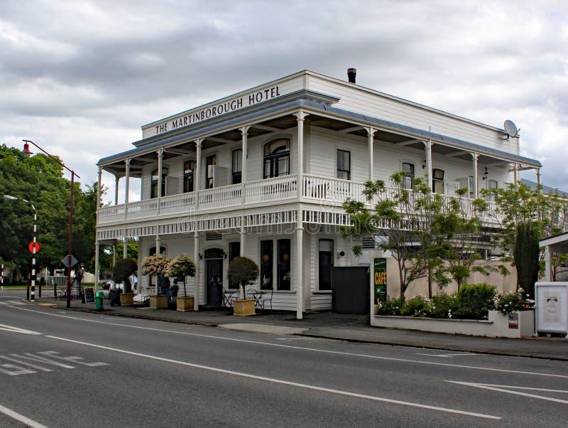 Det Martinbourough hotellet En storartad viktoriansk hostelry i det heary av det nyazeeländska landet för växa för vin arkivfoto