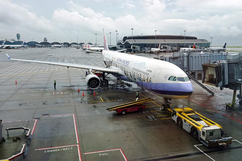 Det Masalu Taiwan flygplanet från China Airlines royaltyfri bild