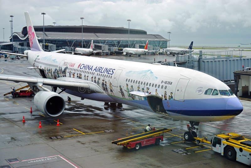 Det Masalu Taiwan flygplanet från China Airlines royaltyfria foton