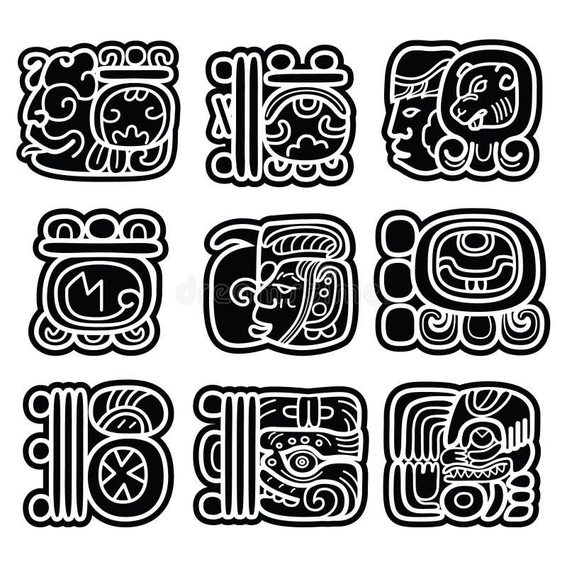 Det Mayan handstilsystemet, Mayaskåror och languge planlägger royaltyfri illustrationer