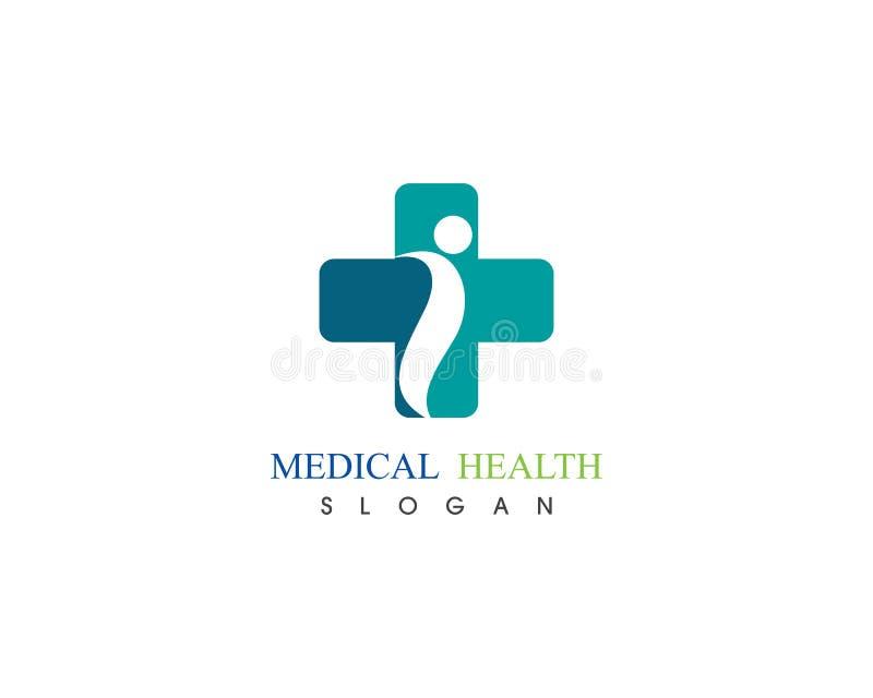 Det medicinska folket att bry sig hälsa för logomallvektor stock illustrationer