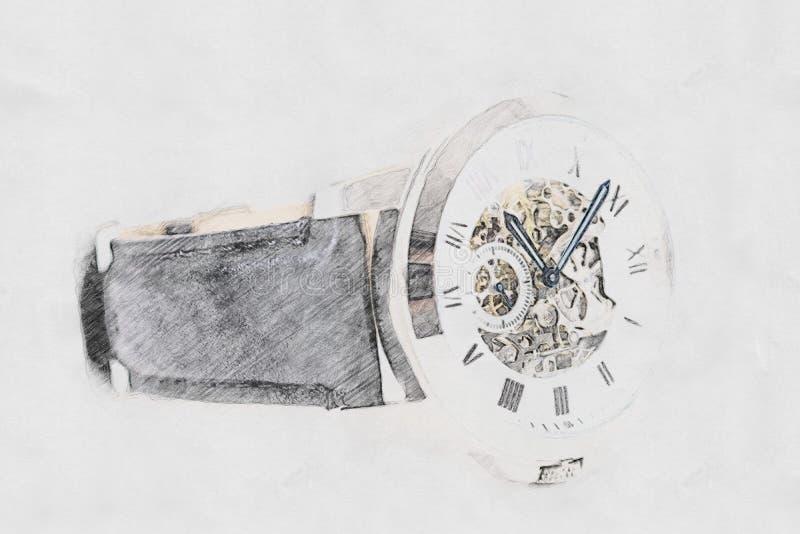 Det mekaniska klockabegreppet skissar royaltyfri illustrationer