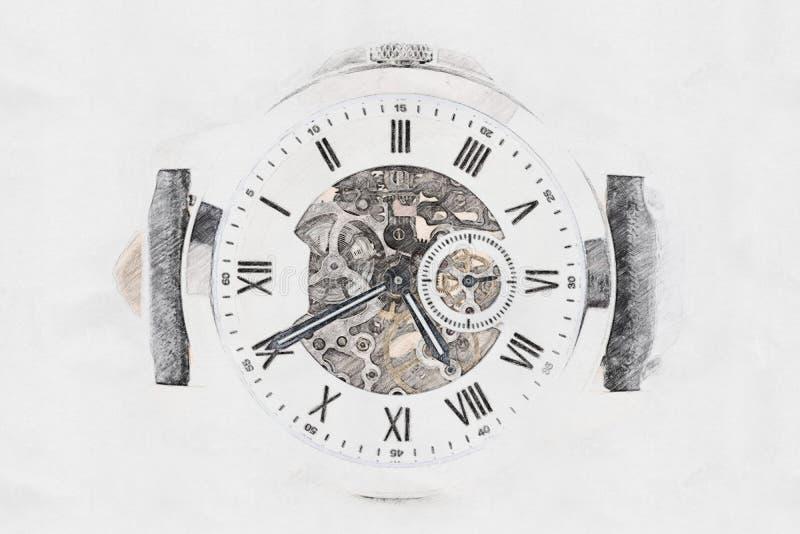 Det mekaniska klockabegreppet skissar royaltyfri foto