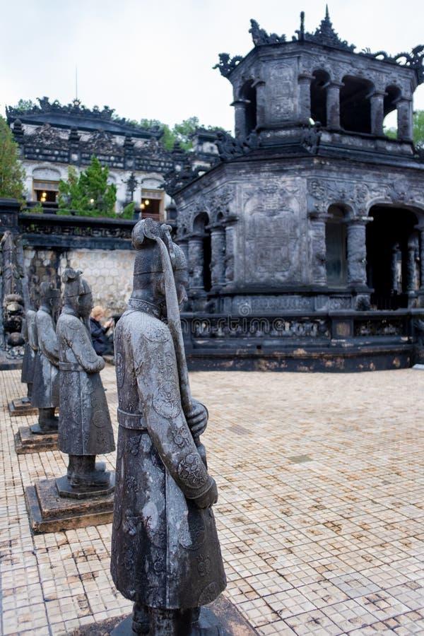 Det mest noterbara stället i Khai Dinh Tomb i Vietnam arkivbild