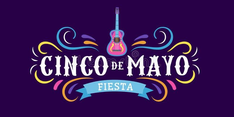 Det mexicanska feriekortet Cinco de Mayo 5 kan Dekorativa och traditionella mexikanska beståndsdelar gitarr, sombrero mexikanska  royaltyfri illustrationer