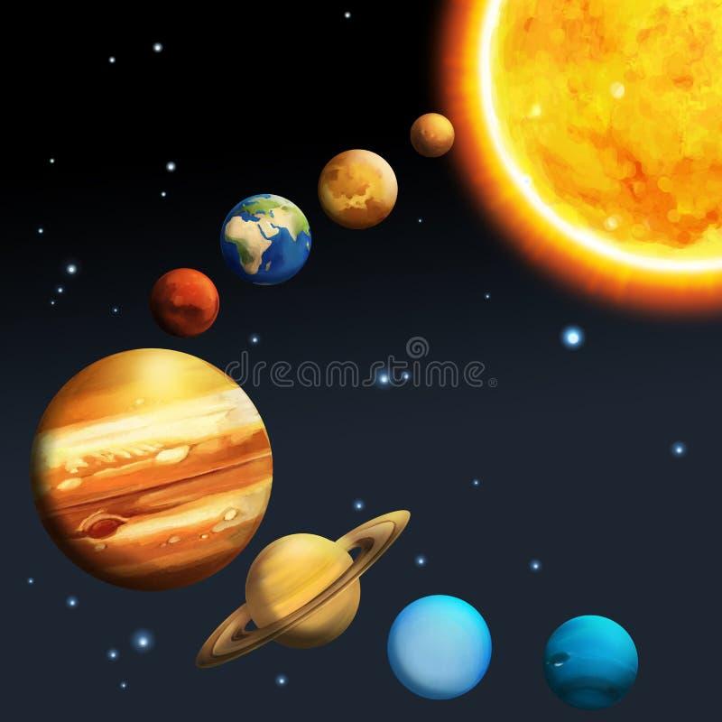 Det milky sol- systemet - långt stock illustrationer