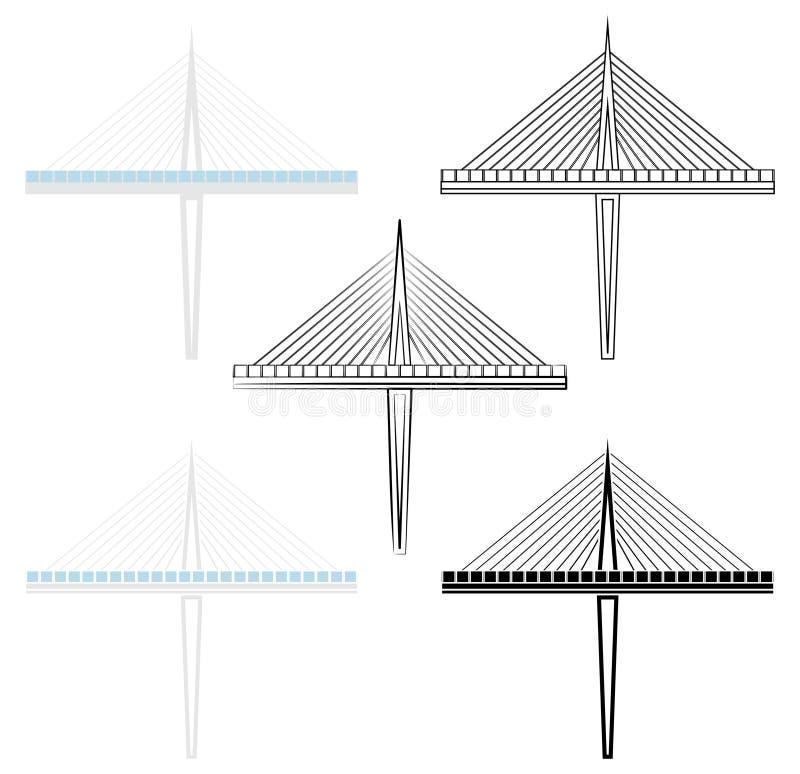 Det Millau broavsnittet färgade och översikten endast vektor illustrationer