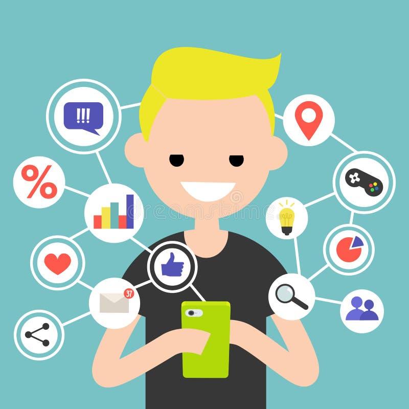 Det Millennial konsumera online-innehållet på mobila enheten/plana redigerar vektor illustrationer