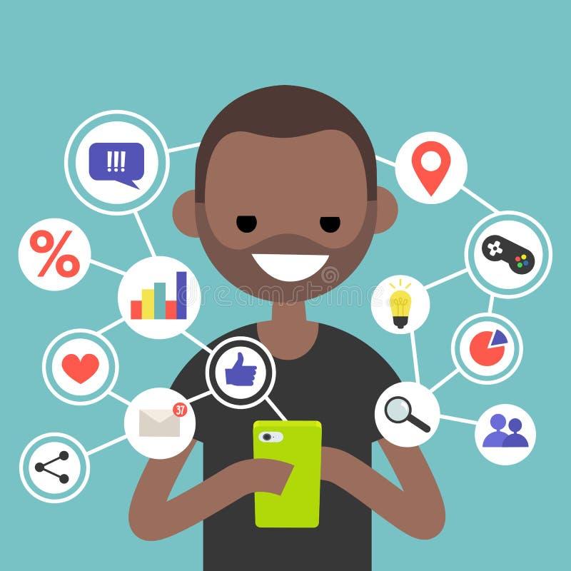 Det Millennial konsumera online-innehållet på mobila enheten/plana redigerar royaltyfri illustrationer
