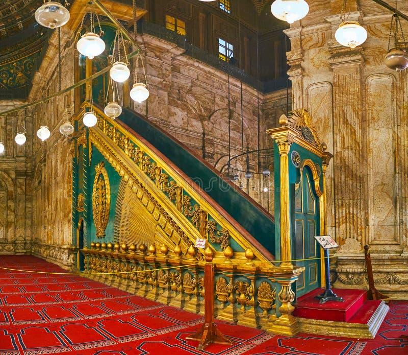 Det minbar av den alabaster- moskén i Kairocitadellen, Egypten royaltyfria foton