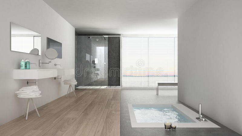 Det Minimalist vita badrummet med badet badar och det panorama- fönstret arkivfoto