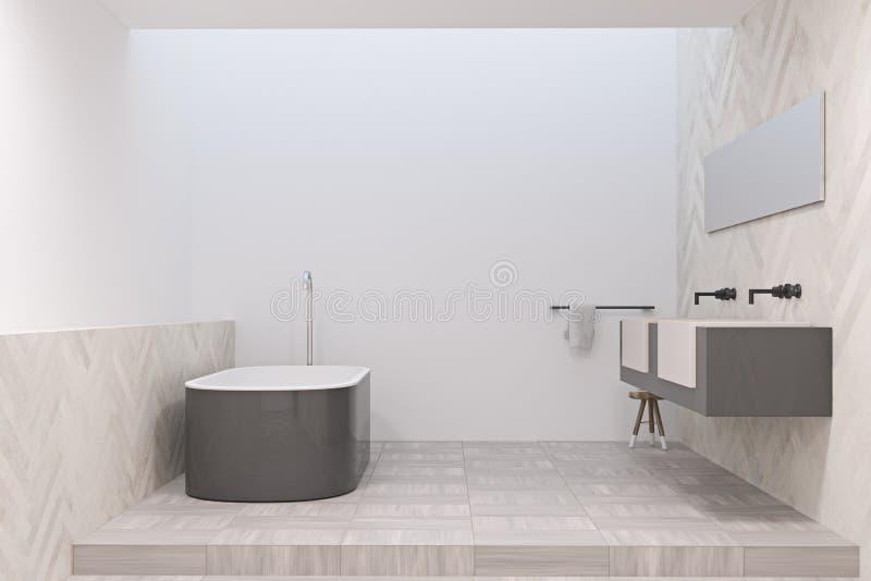 Det moderna badrummet med en grå färg badar vektor illustrationer