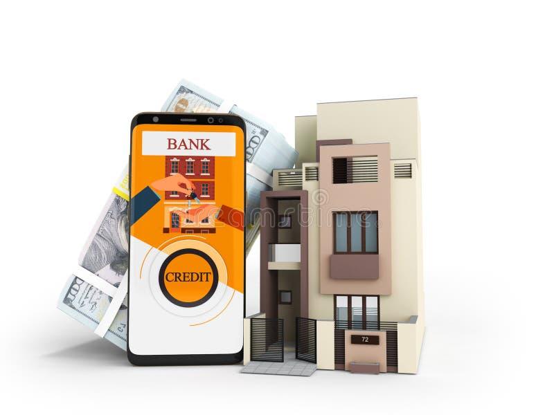 Det moderna begreppet av kreditering i den hemmastadda främre sikten 3d för dollar framför royaltyfri illustrationer