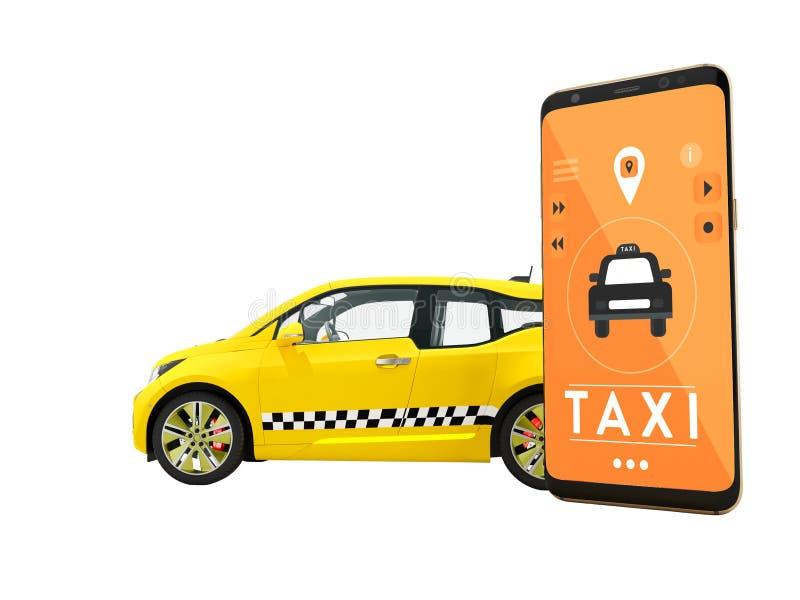 Det moderna begreppet av taxien som kallar en elbil med en smartphone via en mobilapp-apelsin 3d, framför på vit bakgrund ingen s royaltyfri illustrationer