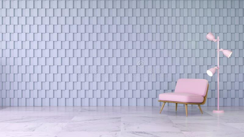 Det moderna begreppet för ruminredesignen, rosa färgstol på marmorgolv och den fyrkantiga väggen för grå färger, 3d framför royaltyfri illustrationer