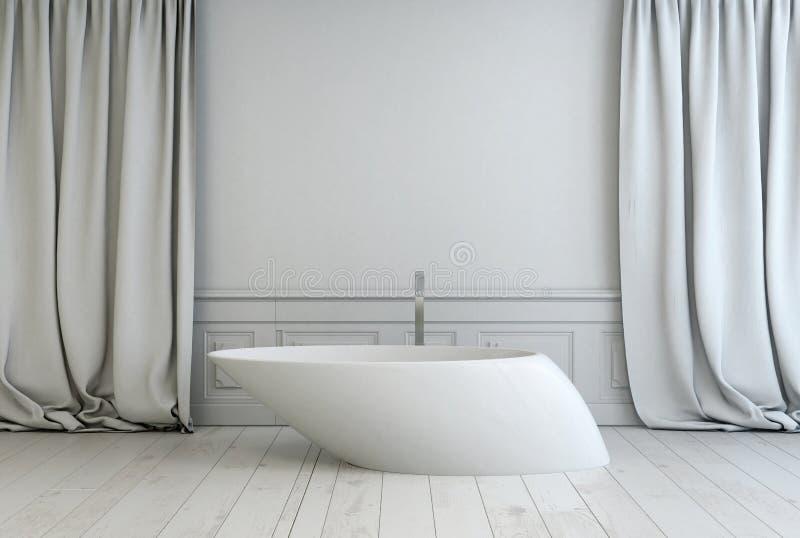 Det moderna fristående badet badar i ett badrum royaltyfri fotografi